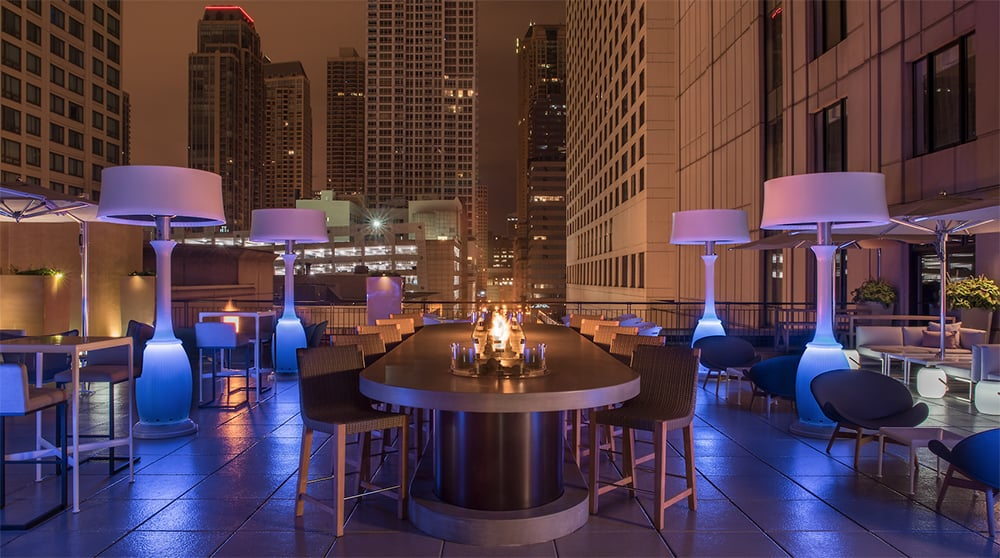 The Gwen Chicago terrace heaters lamps